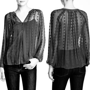 Zoa Sheer Silk Black Floral Embroidered Top